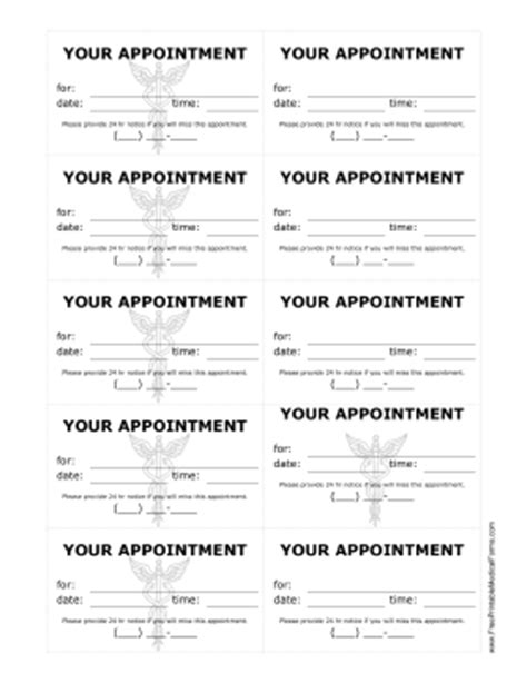 appointment reminder card template 6 best images of free printable reminder sheets