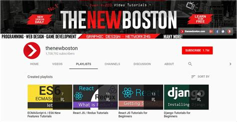 python tutorial the new boston 14 best youtube channels for web developer on air code