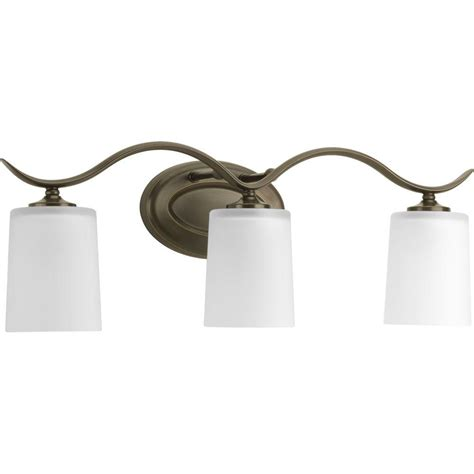 3 Fixture Bathroom Progress Lighting Inspire Collection 3 Light Antique Bronze Vanity Fixture P2020 20 The Home Depot