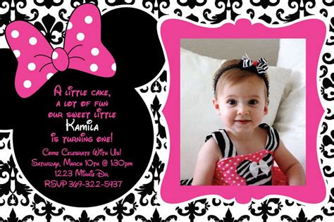 invitation layout for 1st birthday free printable 1st birthday minnie mouse invitation