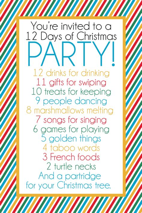 12 days of christmas party and gift exchange game
