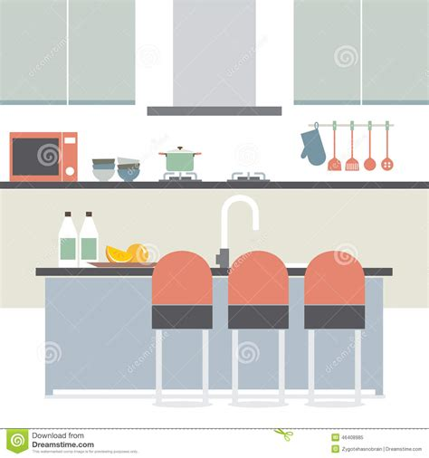 modern home design vector modern flat design kitchen interior stock vector illustration of room illustration 46408985