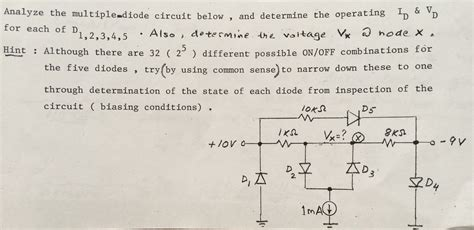 three diode circuit analysis analyze the diode circuit below and deter chegg