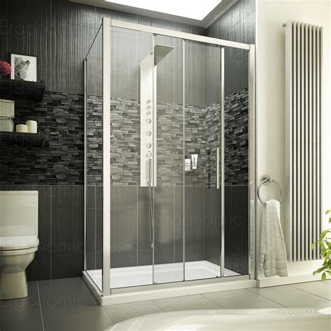 Shower Door 900 Ergonomic Designs 1100 X 900 Sliding Shower Door Enclosure With Tray And Waste Ebay