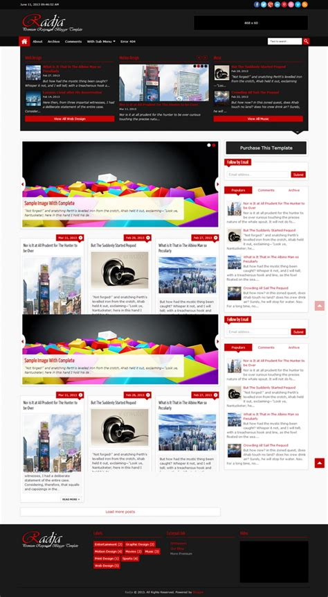 radja responsive premium blogger template blogger