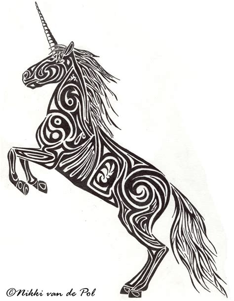 unicorn tribal tattoo the unicorn is a mythical creature strong and