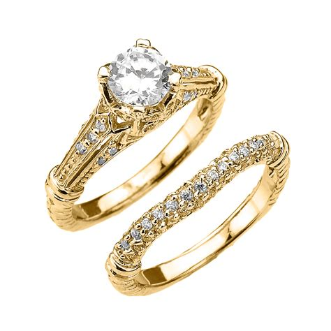 cheap deco engagement rings yellow gold deco engagement wedding ring set