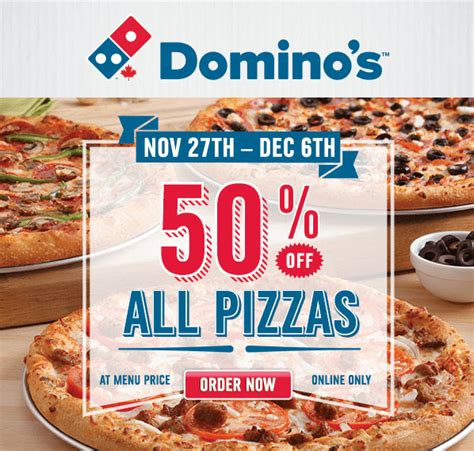 domino pizza friday offer domino s pizza canada online offers save 50 off all