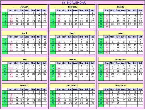Calendario De 1929 1918 Calendar