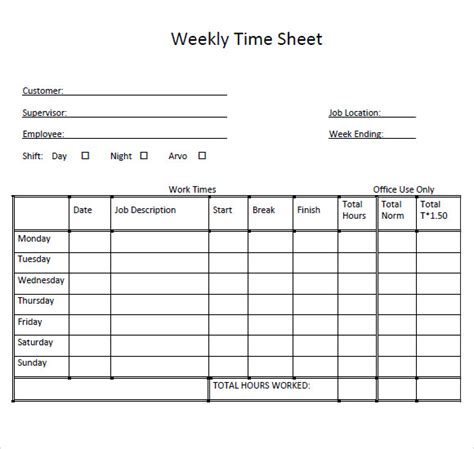 hourly timesheet template sle weekly timesheet template 9 free documents