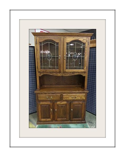 Oak Hutch With Glass Doors oak 2 china hutch w leaded glass doors by keithsfurniture