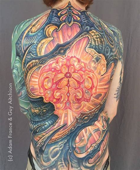 biomechanical tattoo guy aitchison biomechanical backpiece by guy aitchison and adam
