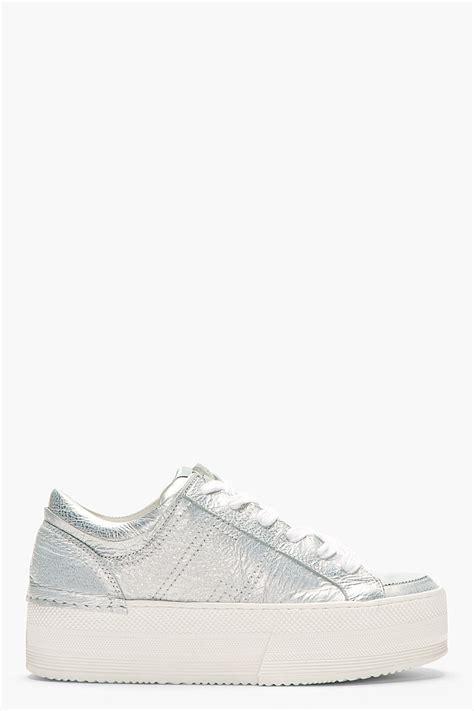 silver platform sneakers ca by cinzia araia silver leather platform leonardo