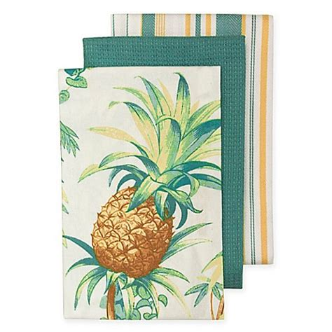 tommy bahama pineapple l tommy bahama tortuga pineapple kitchen towels set of 3
