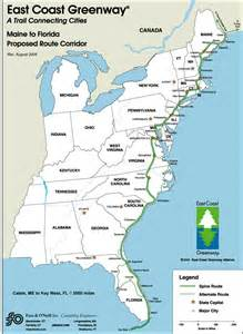 map of east coast east coast greenway trail map biking bis