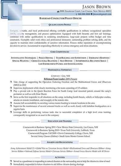 Railroad Conductor / Police Officer (Sample)   Resume