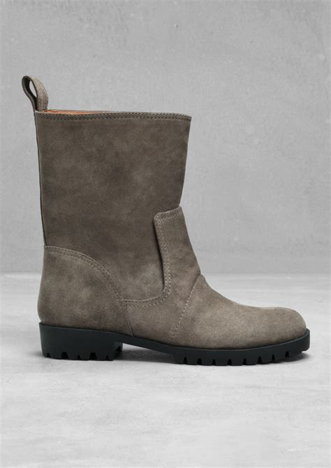 other stories flat suede ankle boots in gray grey lyst