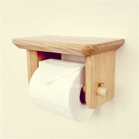 Toilet Paper Holder Wood | wood toilet paper holder wall mount with shelf natural