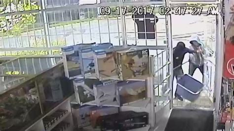 thieves caught on surveillance camera breaking into