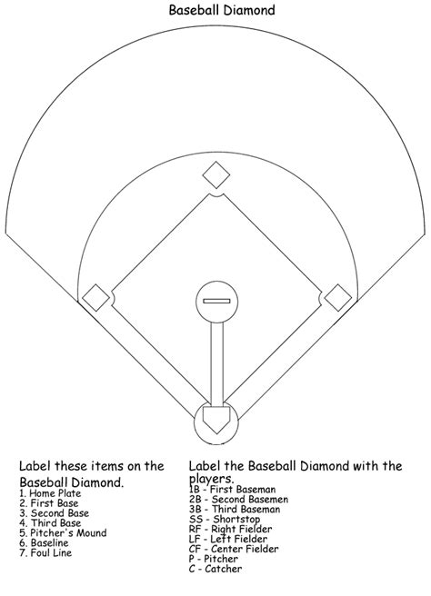 printable baseball activity sheets baseball field quiz little league pinterest search