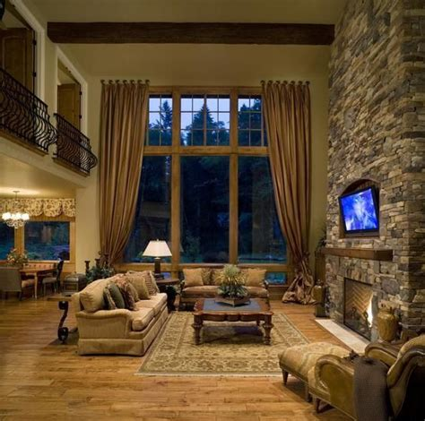 great room  stone fireplace house pinterest