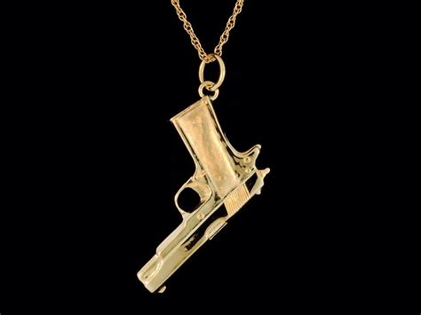 solid 14k yellow gold 1911 45 pistol pendant or necklace