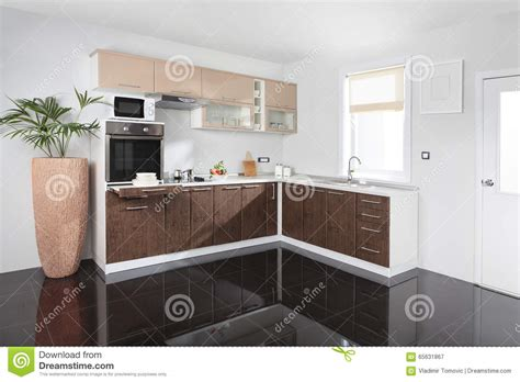 kitchen wooden furniture kitchen interior with wooden furniture royalty free stock