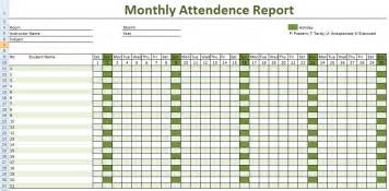 monthly class employee attendance report template excel