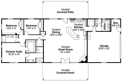 open house plans one floor ranch style open floor plans small ranch floor plans