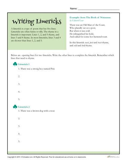writing a limerick template writing limericks poetry worksheet
