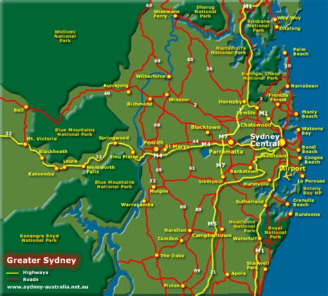 sydney on map of australia greater sydney australia tourist map sydney australia