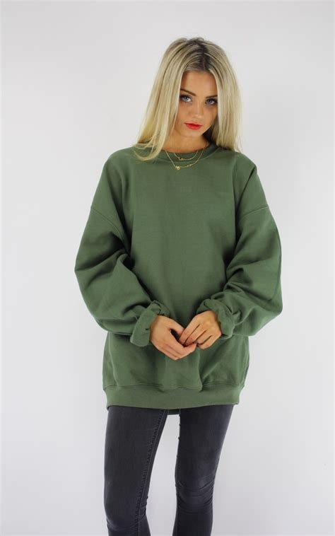 basic oversized boyfriend sweater khaki silkfred