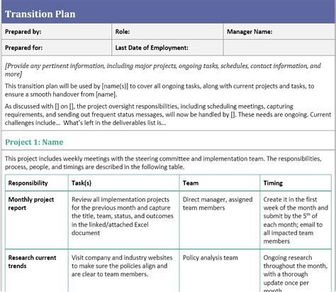 Transition Plan Template For When You Ve Resigned Careermanager Blog Managed Services Transition Plan Template