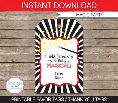 Magic Party Favor Tags Thank You Tags Birthday Party Favor Tags Template