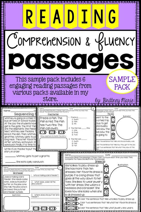 printable leveled reading fluency passages freebie free reading comprehension and fluency passages