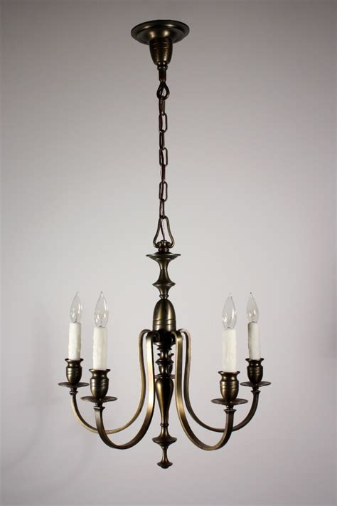 Colonial Revival Chandelier Antique Brass Five Light Colonial Revival