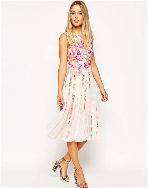 A Sea Of Roses Flare Dress lyst asos floral mesh insert fit and flare midi dress