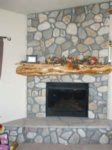 River Rock Veneer Fireplace by