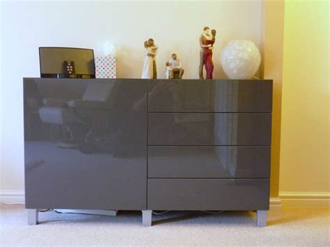 details about ikea burs besta sideboard unit high gloss grey taupe lighter and grey