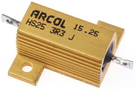 arcol resistors hs25 hs25 3r3 j arcol hs25 series aluminium housed axial panel mount resistor 3 3ω 177 5 25w arcol