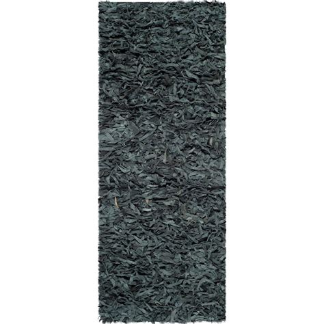 2 x 6 runner rugs safavieh leather shag grey 2 ft 3 in x 6 ft rug runner lsg511n 26 the home depot