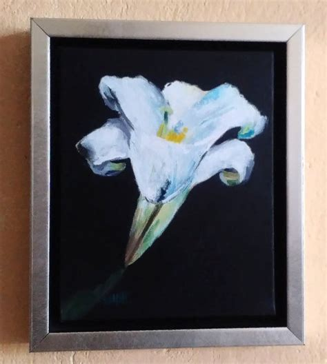 black background painting white flower on black background original painting