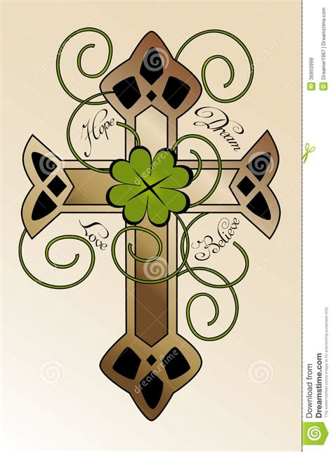 tattoo design with irish cross stock vector image 36950999