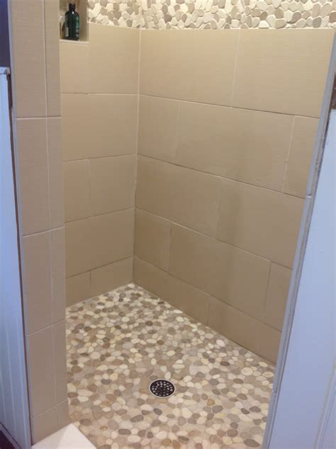 white shower sliced java tan and white pebble tile pebble tile shop
