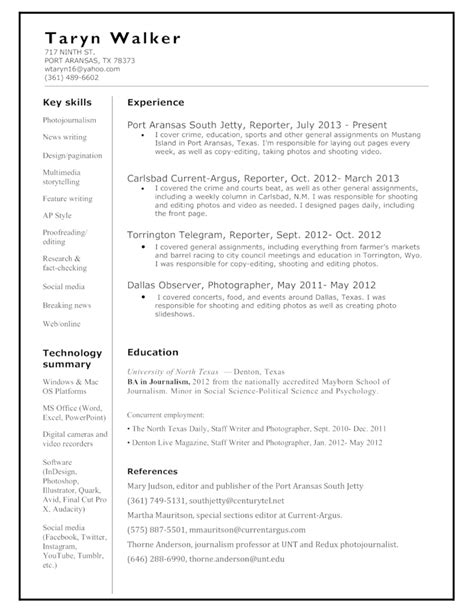 chronological news reporter resume template