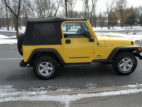 find used 04 jeep wrangler sport 4x4 yellow manual cd soft