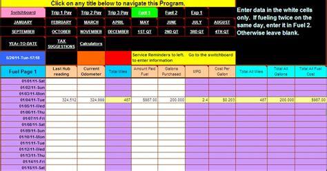 truck driver accounting software spreadsheet program  dieselboss