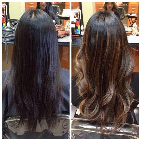 before and after ombre balayage on dark brown color treated hair yuri sinata hair make up south pasadena ca united