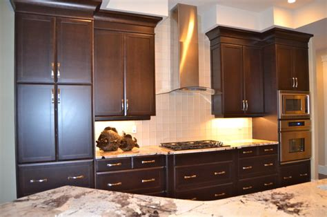 Staining Kitchen Cabinets Darker by New Custom Maple Cabinets Dark Stain Traditional