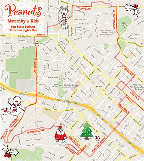kids activity santa barbara christmas lights map